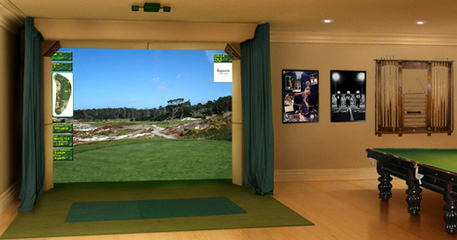 Image gallery indoor virtual golf for Golf simulator room dimensions
